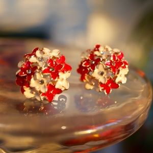 New 925 Four Leaf Flower Diamond Studs earrings